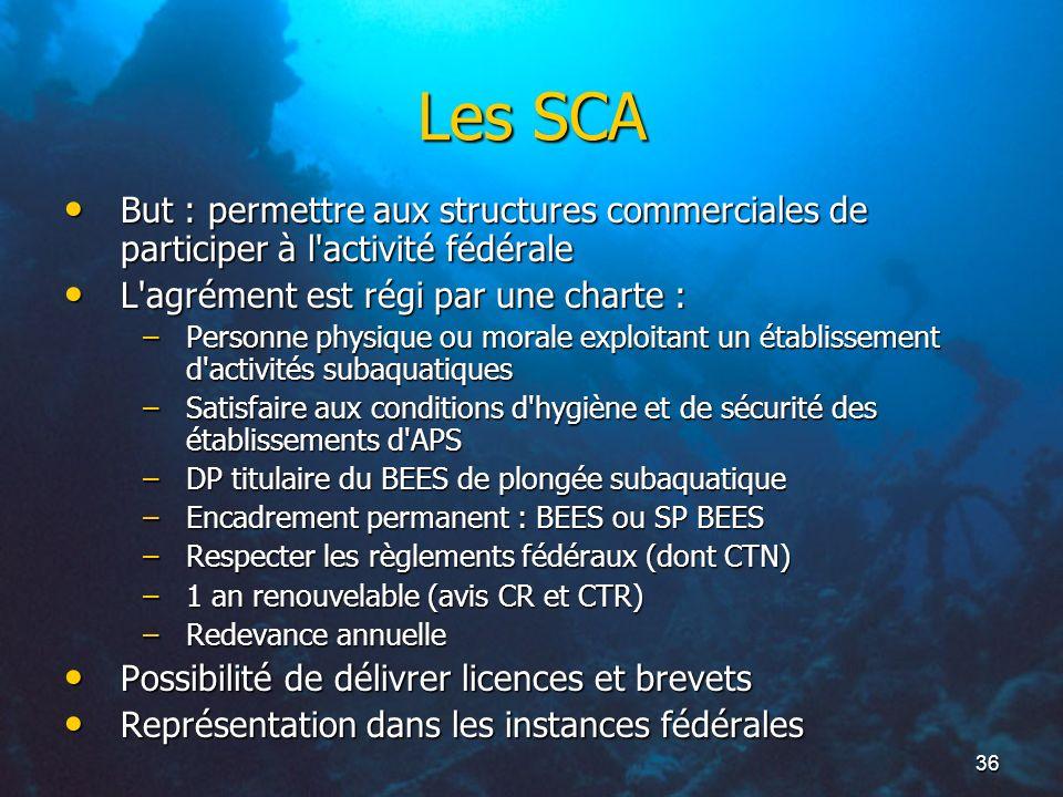 Les SCA But : permettre aux structures commerciales de participer à l activité fédérale. L agrément est régi par une charte :