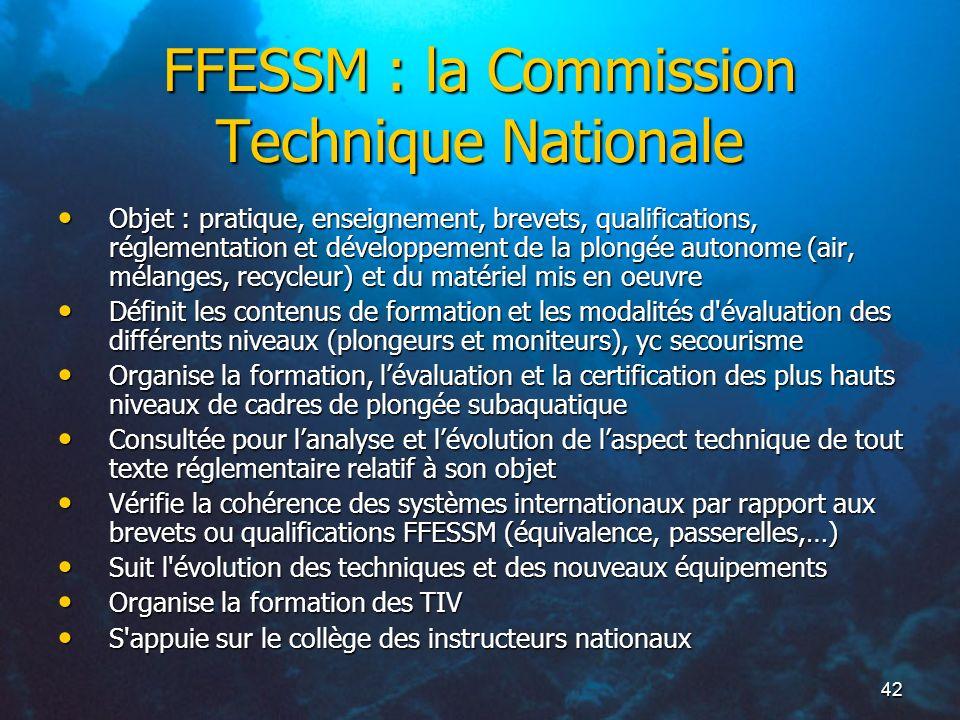 FFESSM : la Commission Technique Nationale