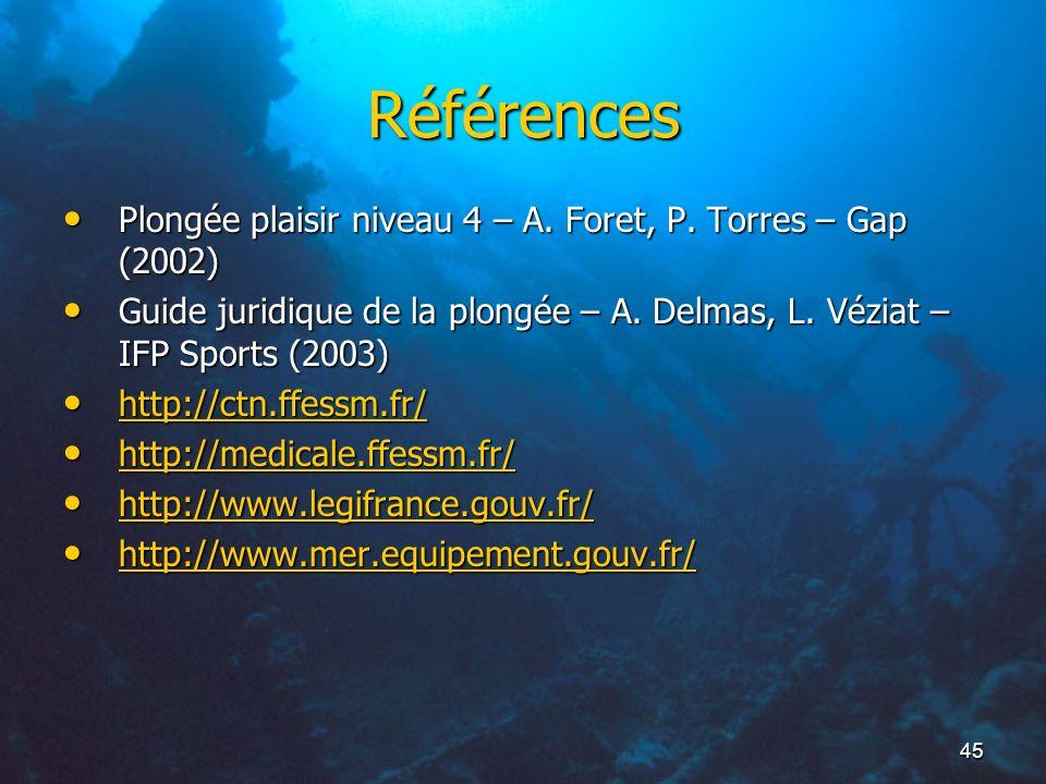 Références Plongée plaisir niveau 4 – A. Foret, P. Torres – Gap (2002)