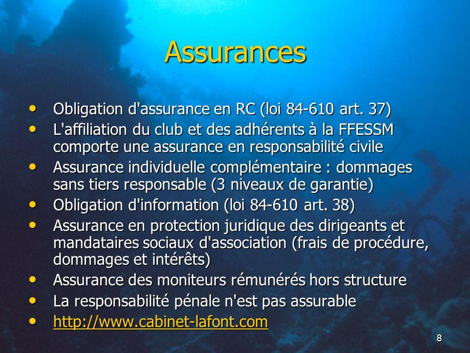 Assurances Obligation d assurance en RC (loi 84-610 art. 37)