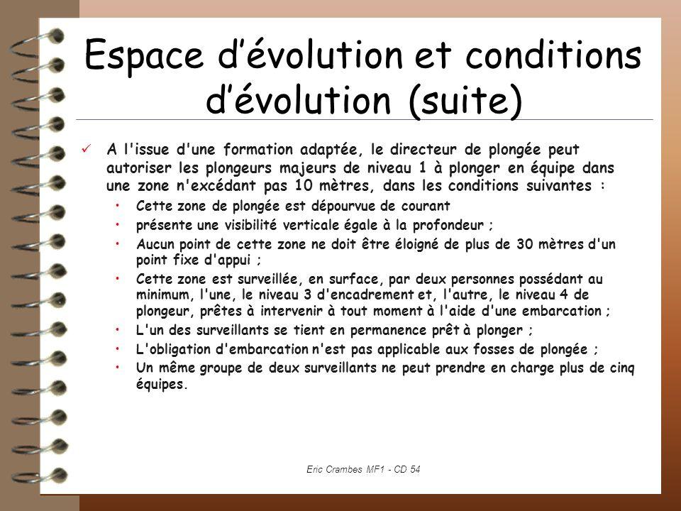 Espace d'évolution et conditions d'évolution (suite)