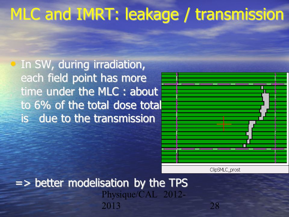 MLC and IMRT: leakage / transmission