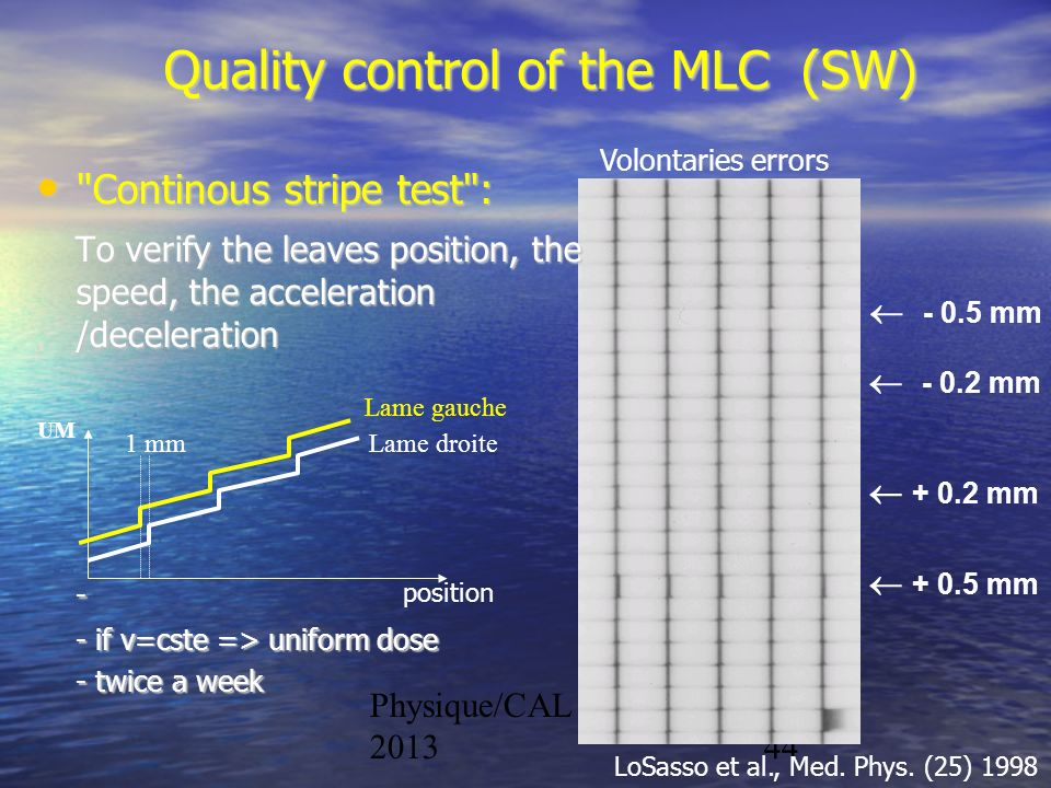 Quality control of the MLC (SW)
