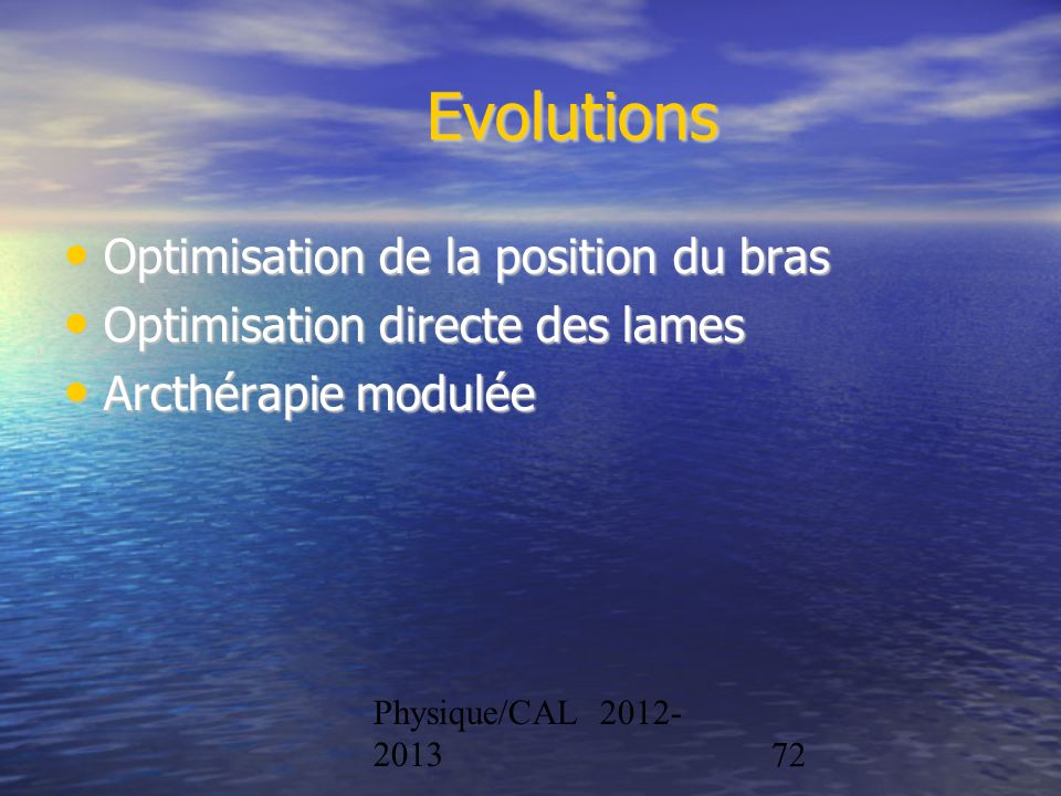 Evolutions Optimisation de la position du bras