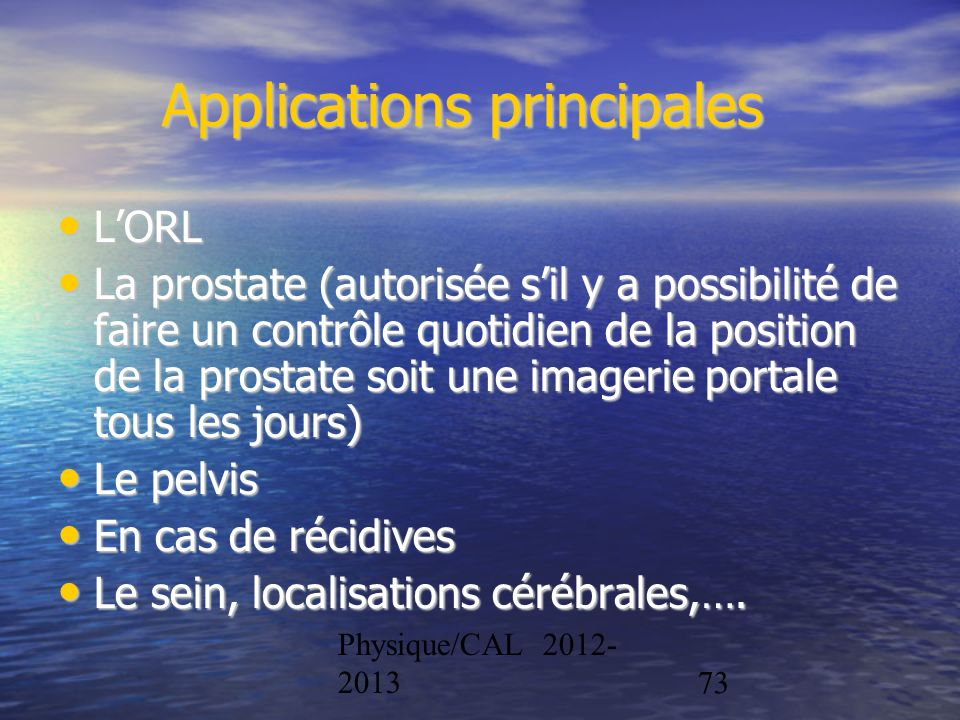 Applications principales