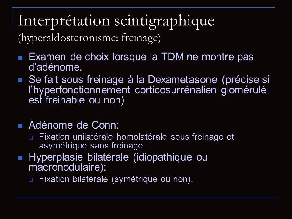 Interprétation scintigraphique (hyperaldosteronisme: freinage)