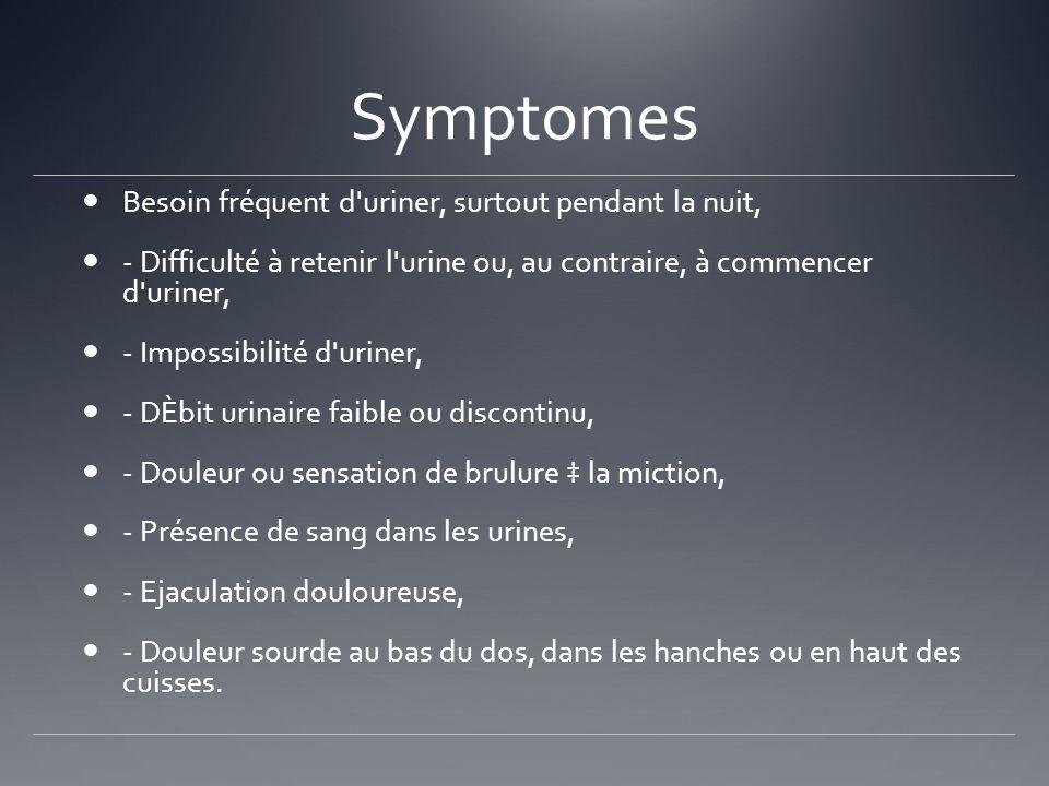 Symptomes Besoin fréquent d uriner, surtout pendant la nuit,
