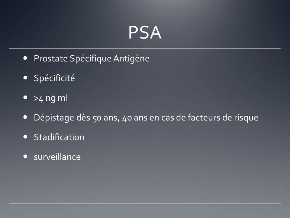 PSA Prostate Spécifique Antigène Spécificité >4 ng ml