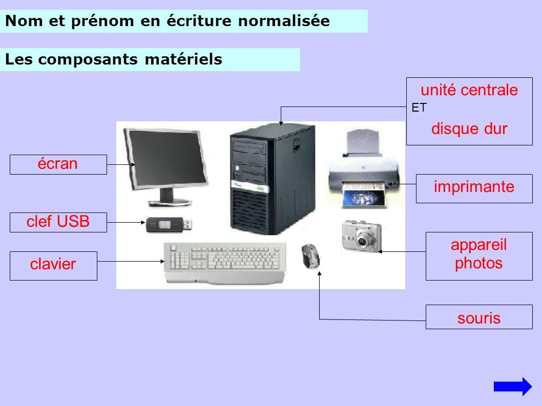 unité centrale disque dur écran imprimante clef USB appareil photos