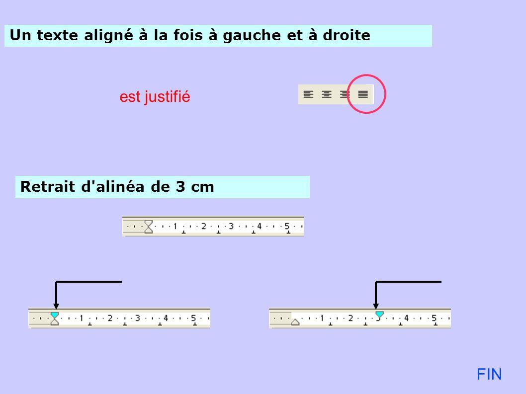 est justifié FIN Un texte aligné à la fois à gauche et à droite