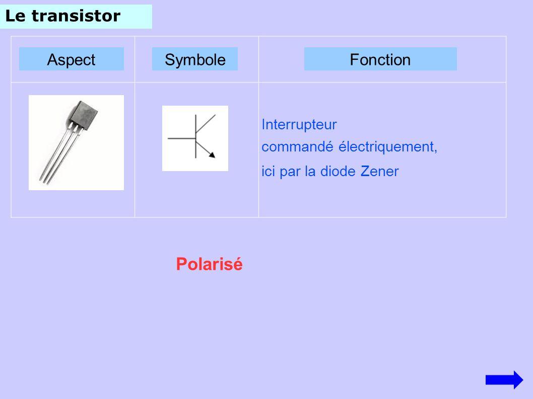 Polarisé Le transistor Aspect Symbole Fonction Interrupteur