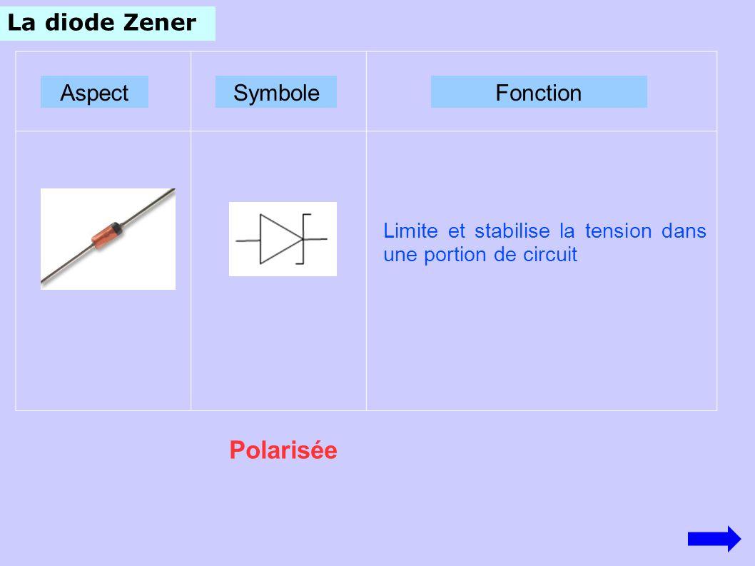 Polarisée La diode Zener Aspect Symbole Fonction