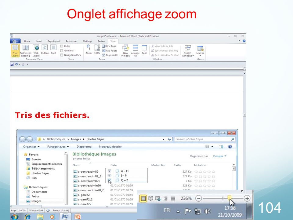 26/03/2017 Onglet affichage zoom Microsoft Office Word 2010 TP