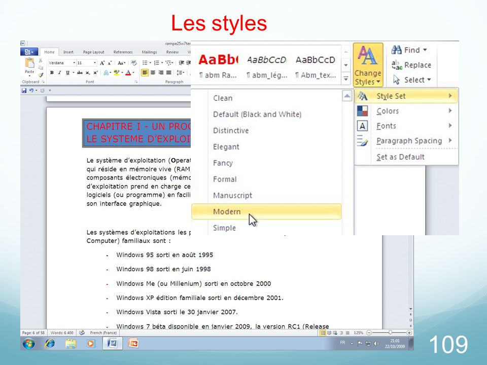 26/03/2017 Les styles. Pour choisir un style, allez dans l'onglet accueil, groupe style et choisissez le style à appliquer à votre texte.