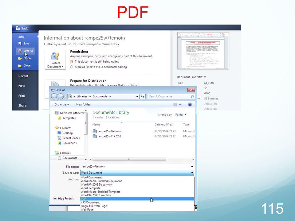 26/03/2017 PDF. La version Word 2010 permet de créer des fichier PDF ou XPS.