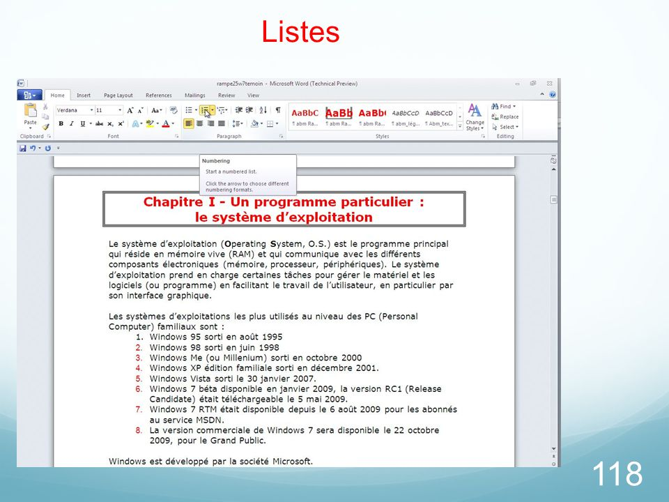 26/03/2017 Listes Microsoft Office Word 2010 TP