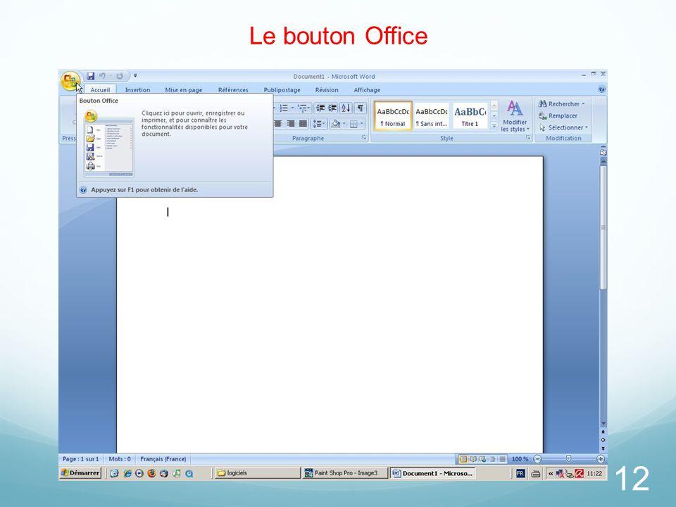 26/03/2017 Le bouton Office. Le bouton d'Office était une nouvelle entrée dans Microsoft Office Word 2007.
