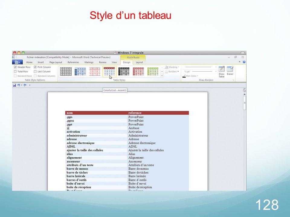 26/03/2017 Style d'un tableau Microsoft Office Word 2010 TP