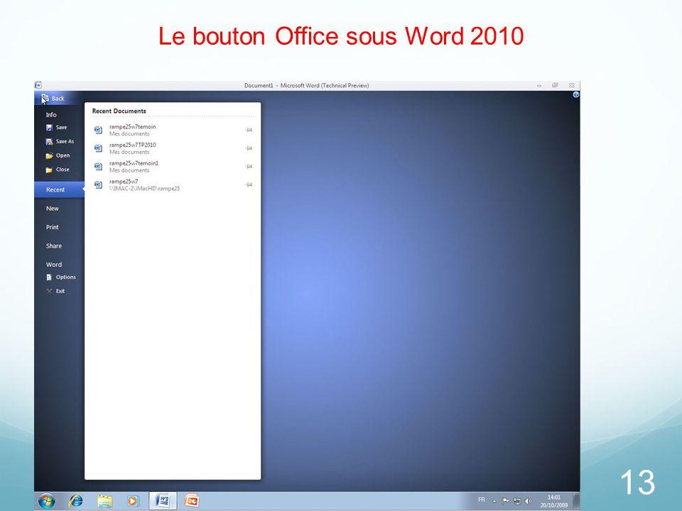 Le bouton Office sous Word 2010