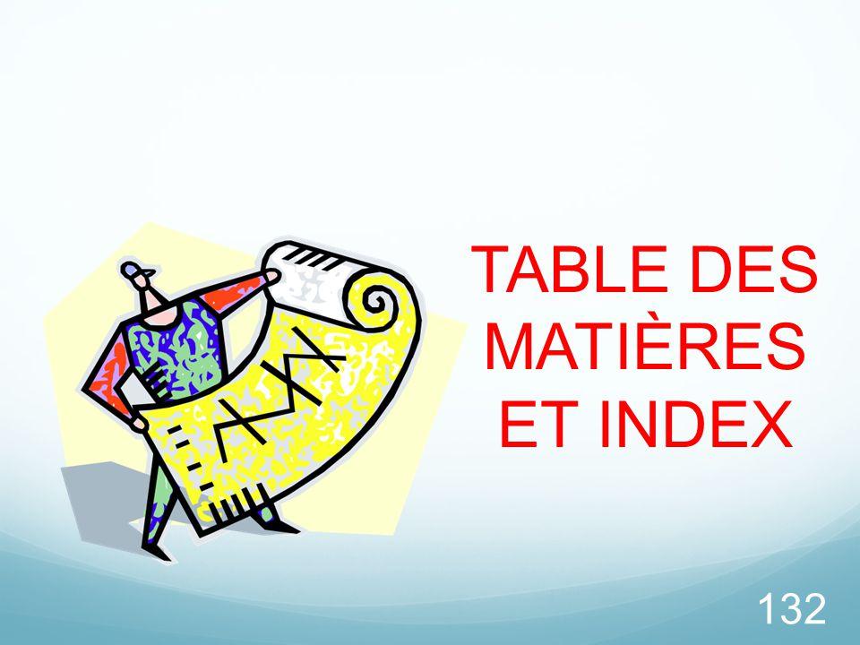 TABLE DES MATIÈRES ET INDEX