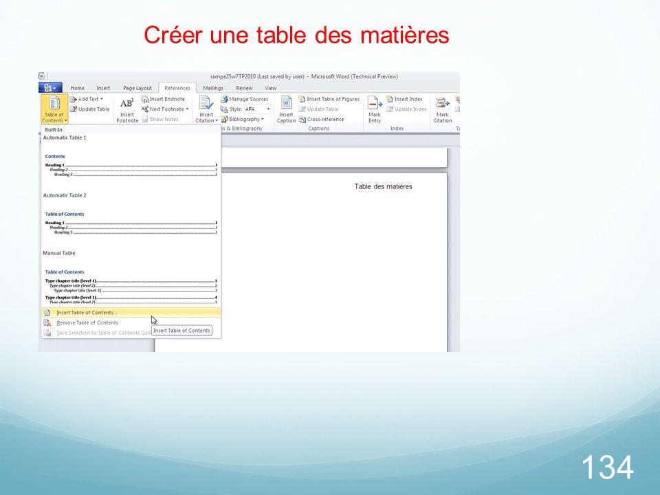 Créer une table des matières
