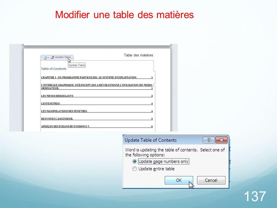 Modifier une table des matières