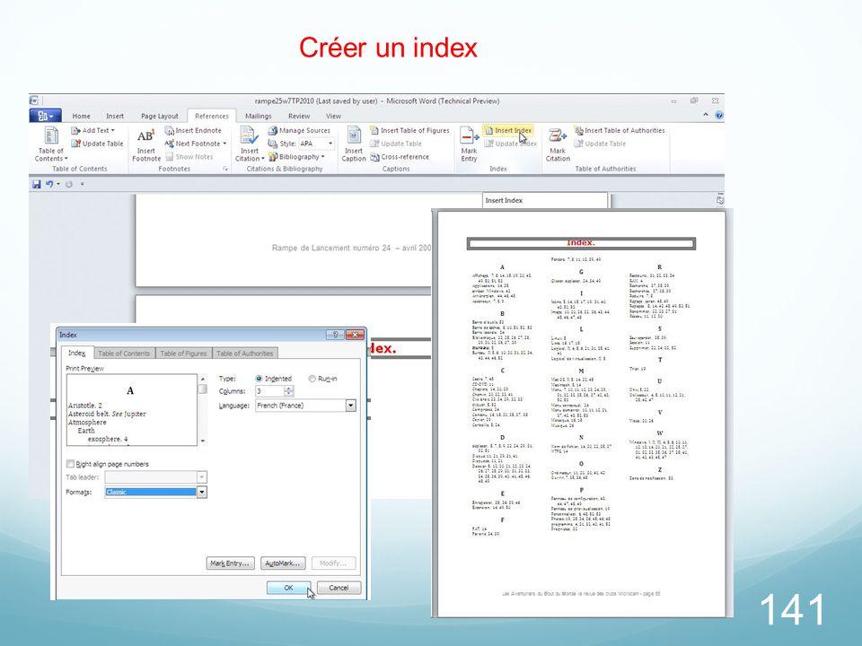 Créer un index 26/03/2017 Choisissez un modèle d'index.