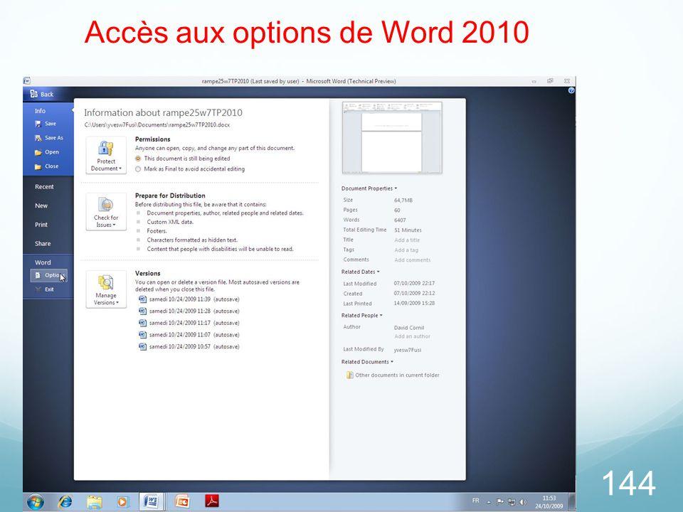 Accès aux options de Word 2010