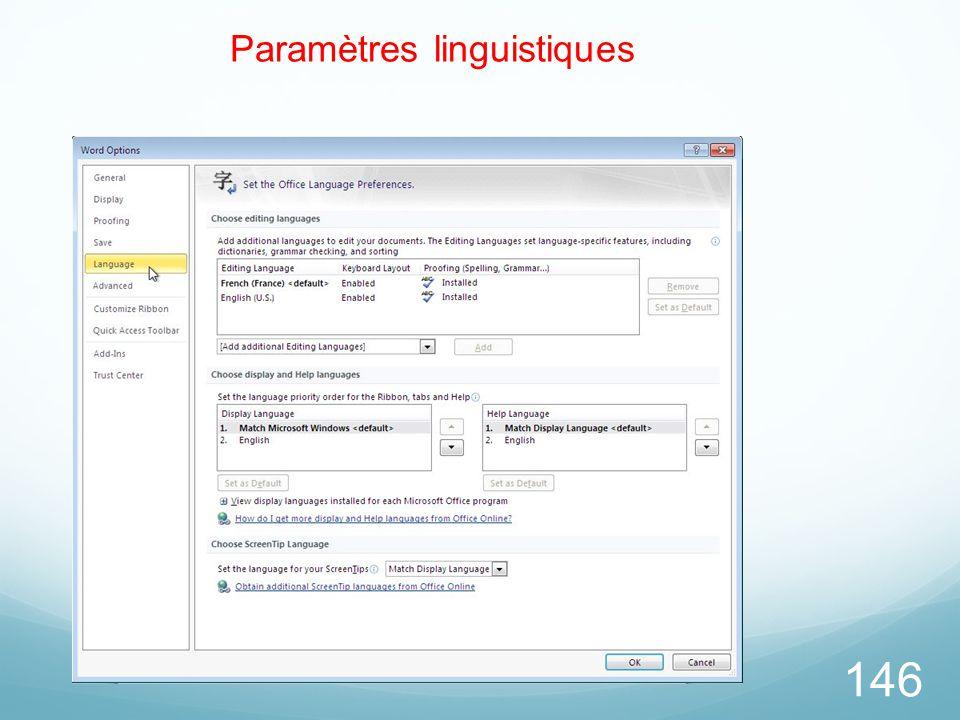 Paramètres linguistiques