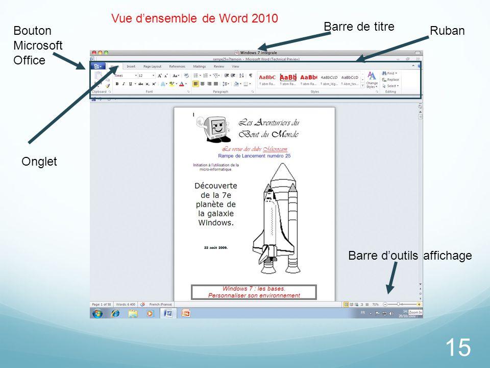 Vue d'ensemble de Word 2010 Barre de titre. Bouton Microsoft Office.