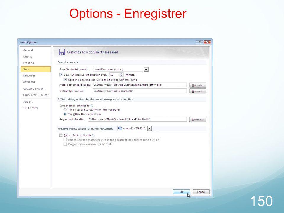 26/03/2017 Options - Enregistrer Microsoft Office Word 2010 TP