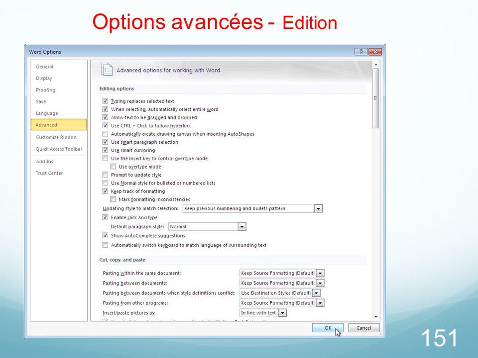 Options avancées - Edition
