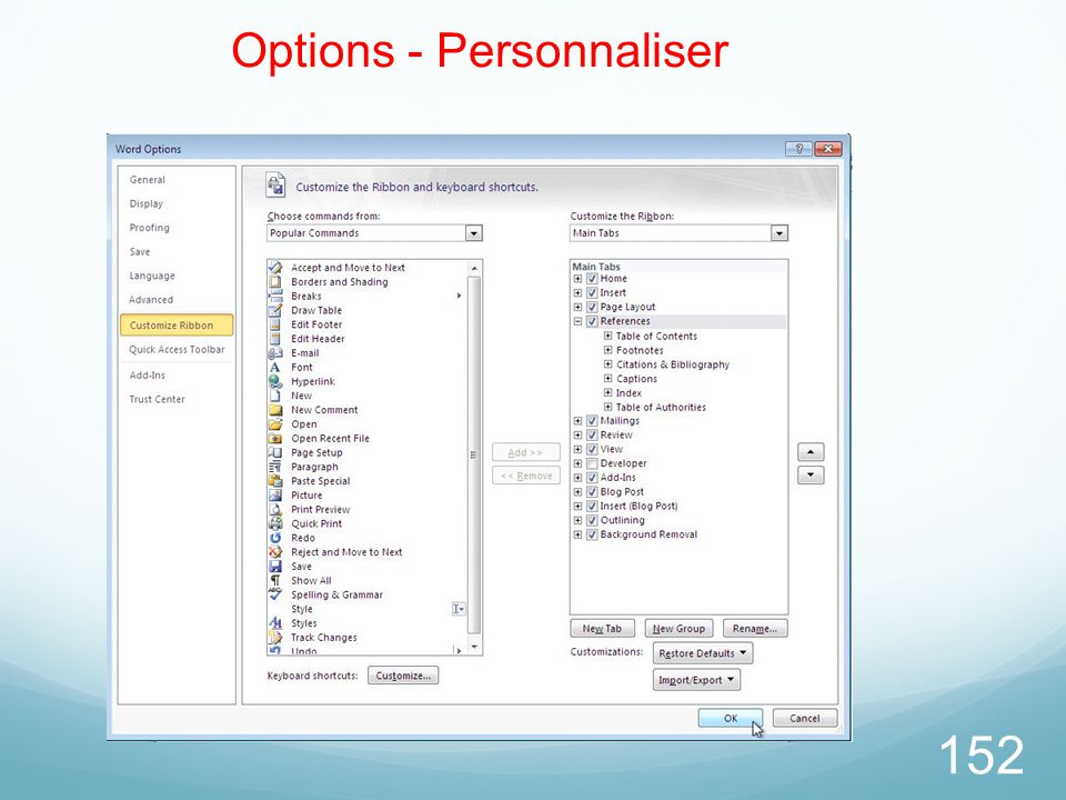 Options - Personnaliser