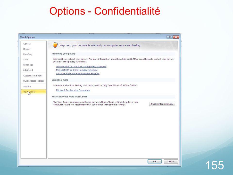Options - Confidentialité