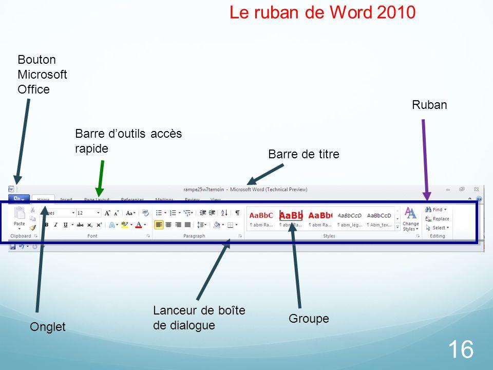 Le ruban de Word 2010 Bouton Microsoft Office Ruban