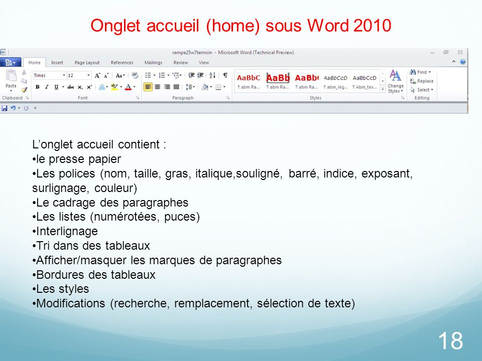 Onglet accueil (home) sous Word 2010