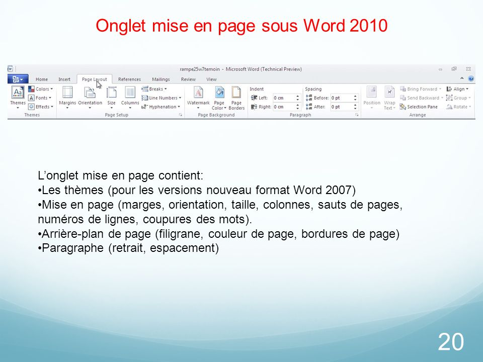 Onglet mise en page sous Word 2010