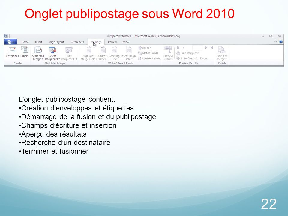 Onglet publipostage sous Word 2010