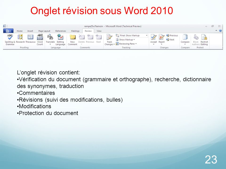 Onglet révision sous Word 2010