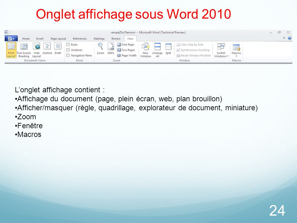 Onglet affichage sous Word 2010