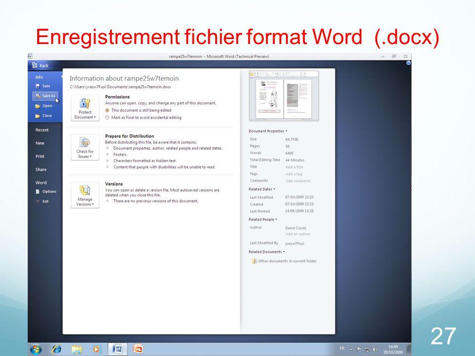 Enregistrement fichier format Word (.docx)