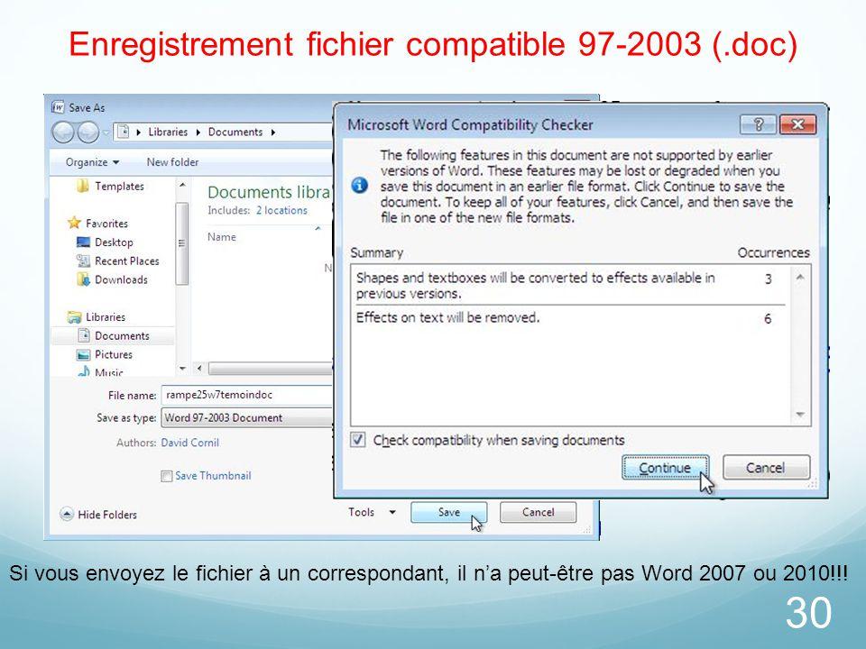 Enregistrement fichier compatible 97-2003 (.doc)