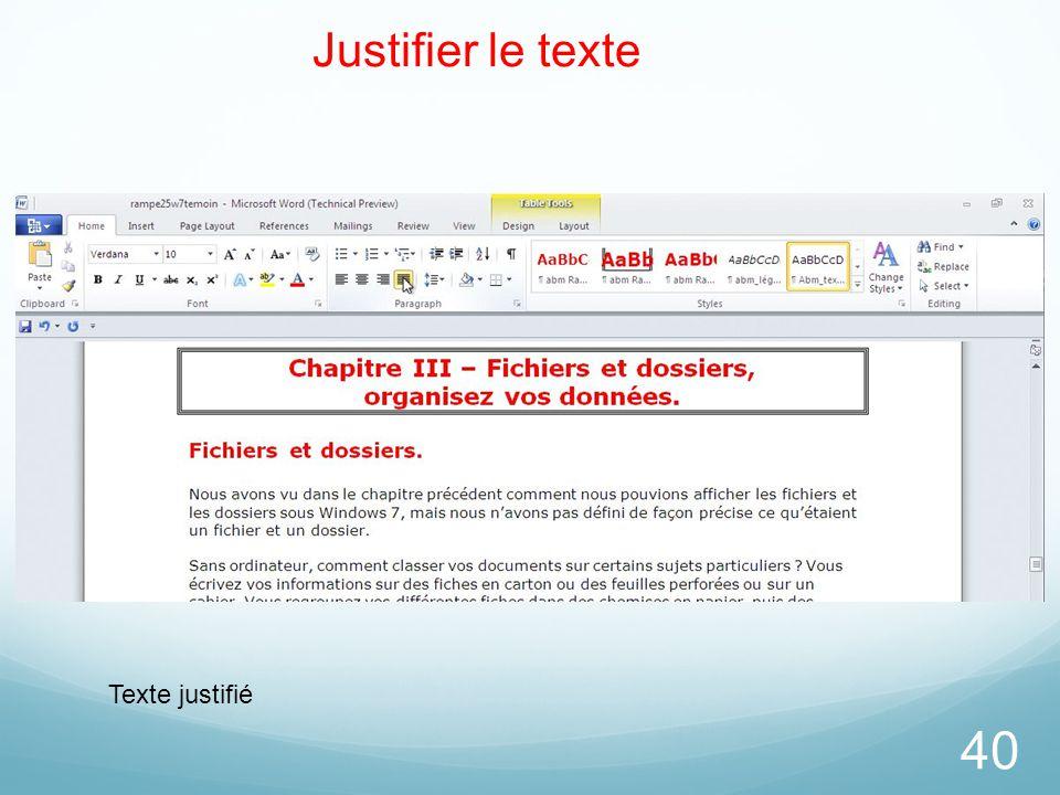 Justifier le texte Texte justifié 26/03/2017