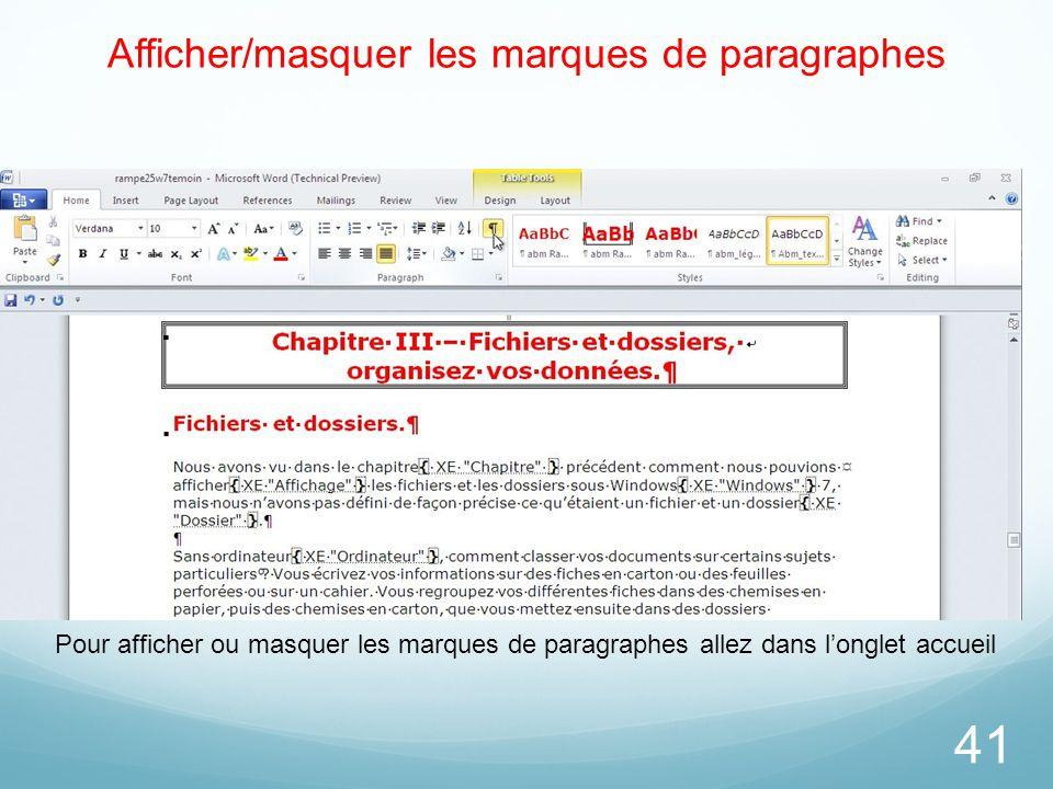 Afficher/masquer les marques de paragraphes