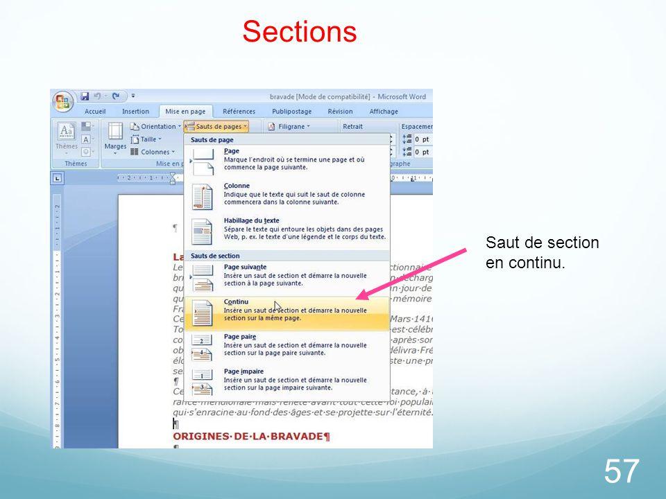 Sections Saut de section en continu. 26/03/2017
