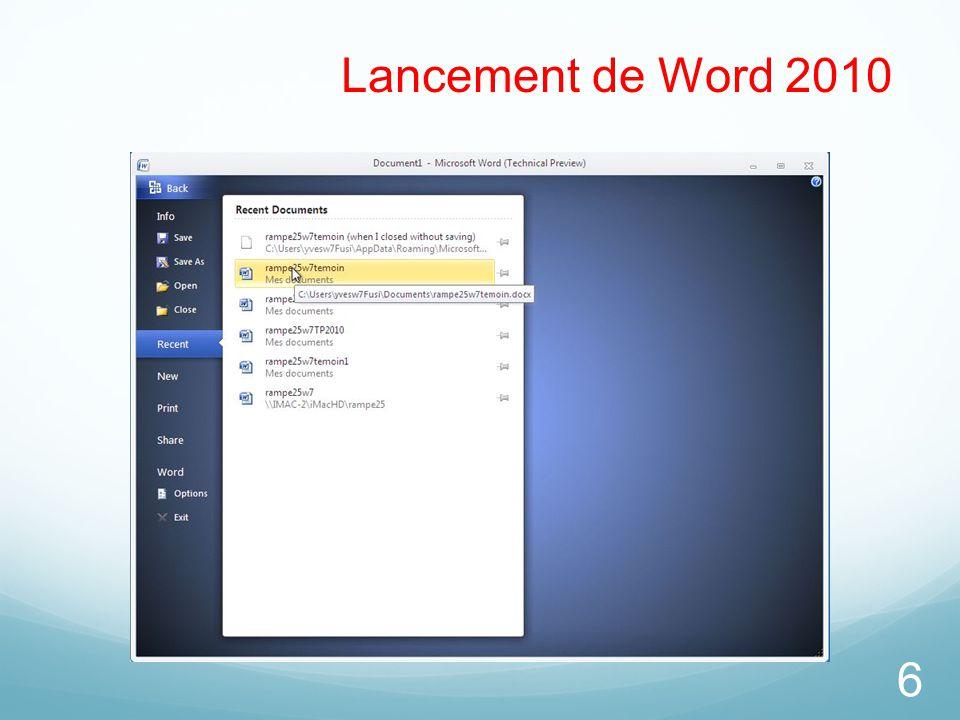Lancement de Word 2010
