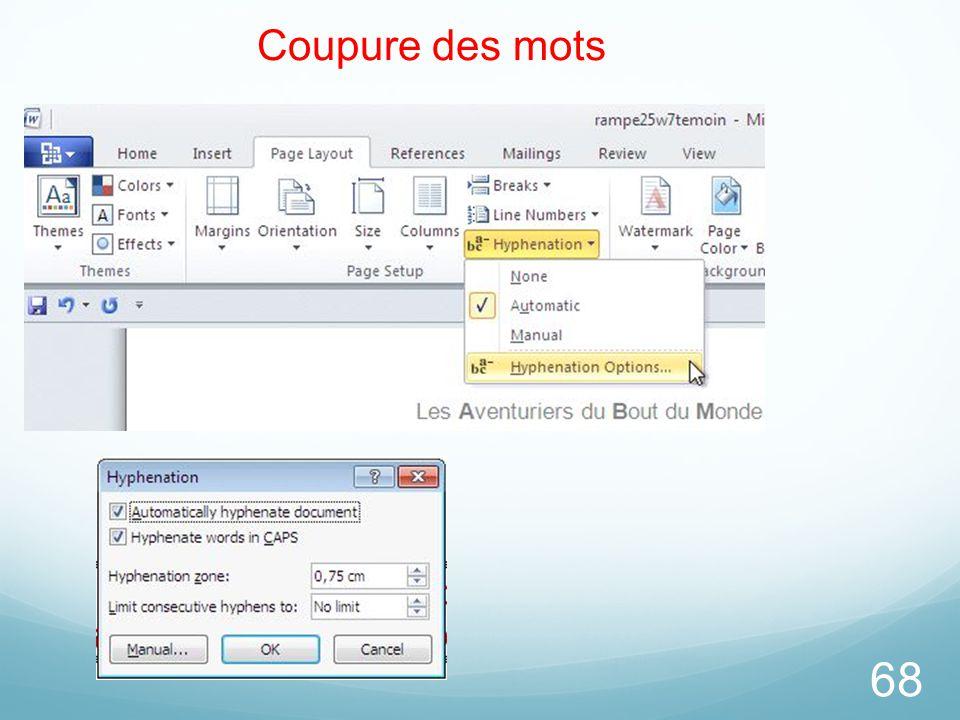 26/03/2017 Coupure des mots Microsoft Office Word 2010 TP
