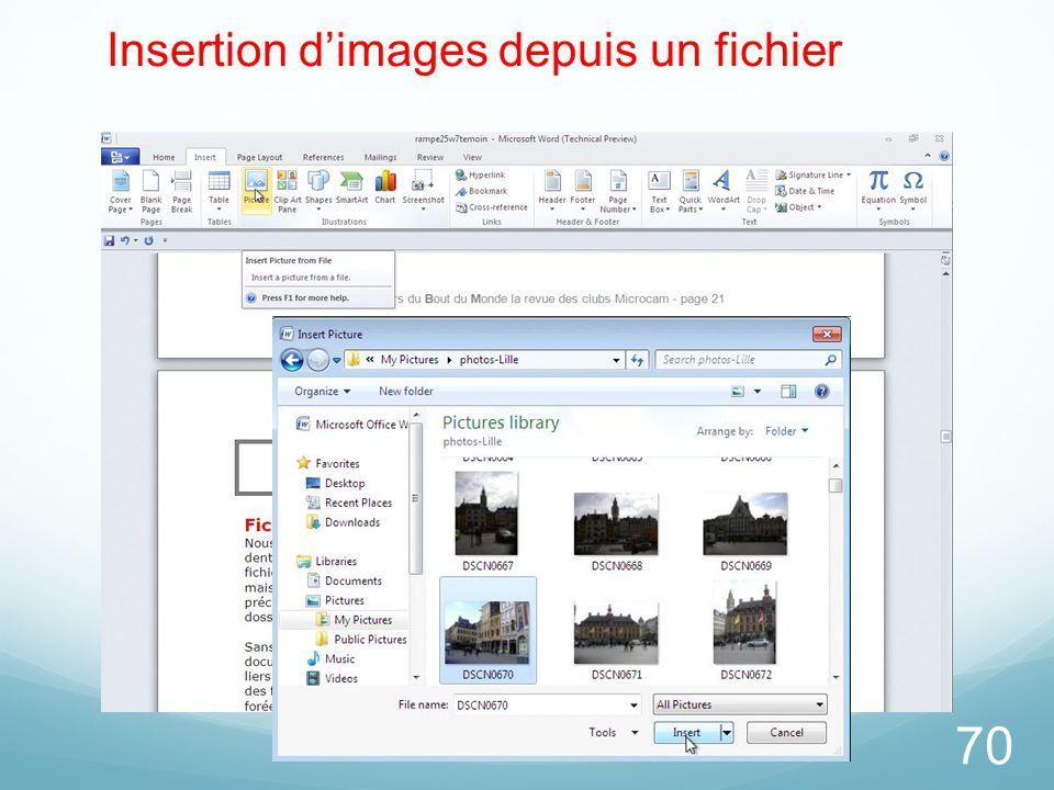Insertion d'images depuis un fichier