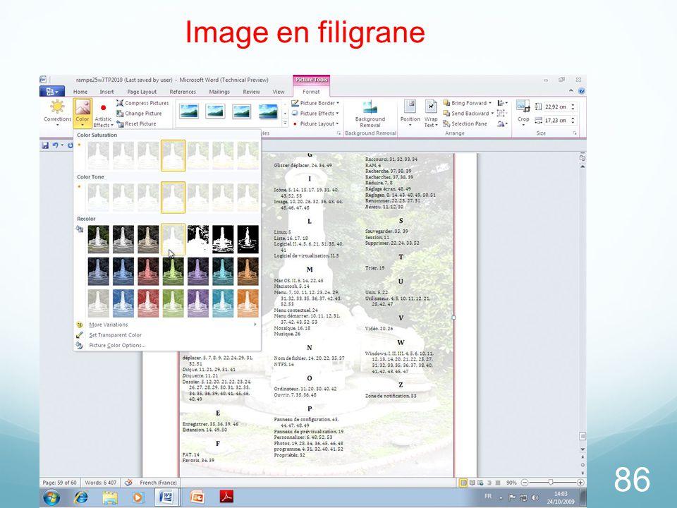26/03/2017 Image en filigrane Microsoft Office Word 2010 TP