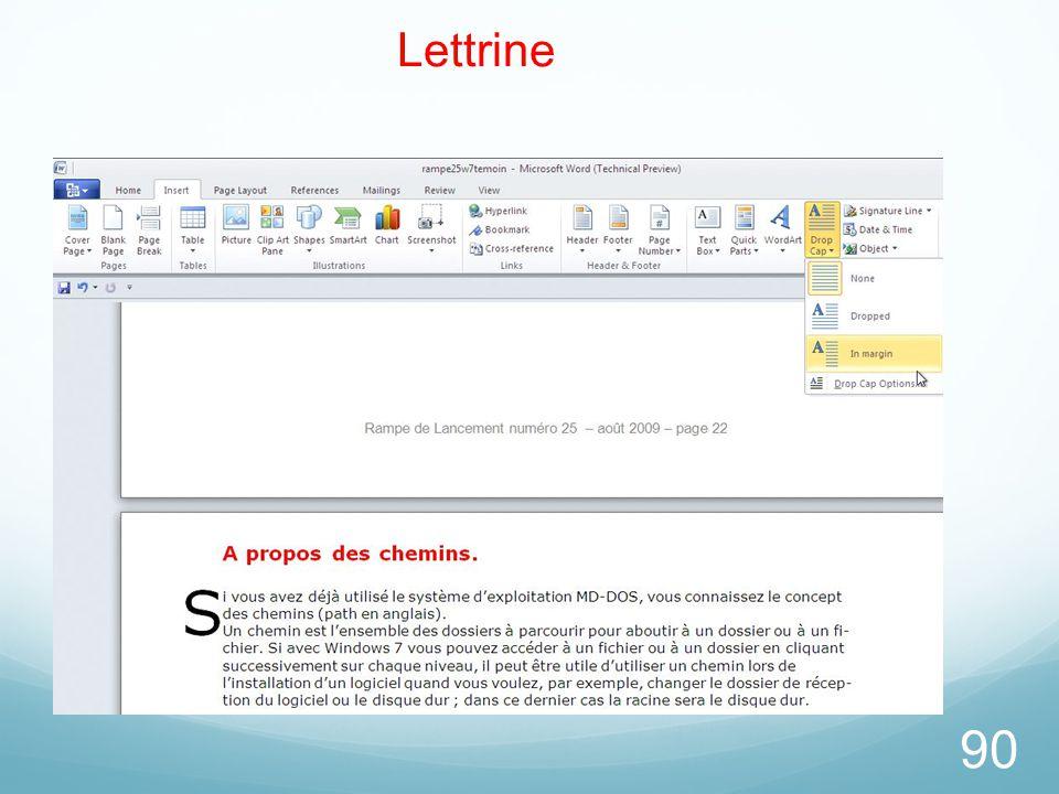 26/03/2017 Lettrine. Vous avez le choix entre plusieurs types de lettrines. Ici la lettrine est dans la marge (lettre S).